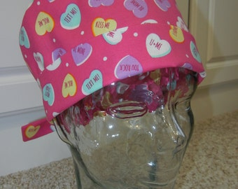 Tie Back Surgical Scrub Hat with Valentine Candy Conversation Hearts