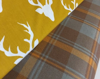 Hipster Plaid fabric, Hello Bear fabric, Buck Forest Mustard, Grizzly Plaid, Baby Quilt fabric- Fabric Bundle of 2, Choose The Cuts