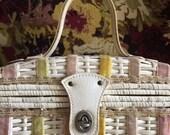 VINTAGE WHITE...white pastel wicker basket purse ~ classic ~ hard case wood velvet basket ~ summer wedding