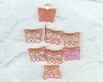 19 Vintage Peachy Pink Pressed Glass Butterfly Beads 16 x 12 mm Czechoslovakian