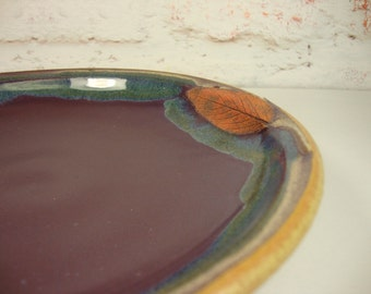 Pottery Plate with Sage Leaves - Wheel-Thrown Stoneware - Treehugger Series