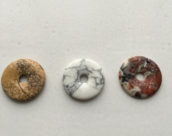 Howlite, Unakite and Picture Jasper Donut  Gemstones.