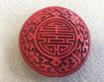Red Cinnabar LONG LIFE in Chinese Focal Bead Pendant 52mm Round Coin