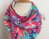 turquoise sippin' and trippin'  ~ bandana bib ~ drool bib ~ lilly pulitzer bandana bib from lillybelle designs