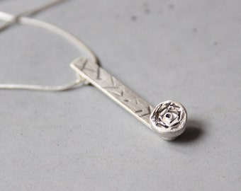 Long Silver Rose Necklace with Black Stamped Lines - Romantic silver necklace - There is no rose without a thorn