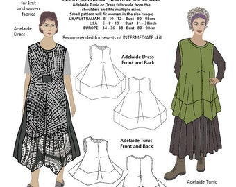 Adelaide Dress and Tunic, SMALL SIZES, womens PDF sewing pattern