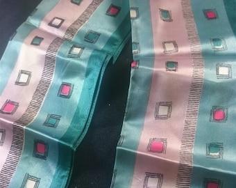 Vintage Women's Mod Silk Geometric Neck Scarf 1960's Original