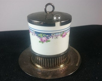 Vintage Art Deco Porcelain and Silver Plated Mustard Honey Jam Pot Jar with Spoon Stand and Lid 1920's - 1930's Ceramic