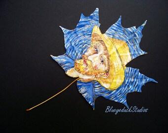 Impressionist, Vincent Van Gogh, tribute, self portrait, interpretation, original painting, autumn leaf, fine art, Maple Leaf