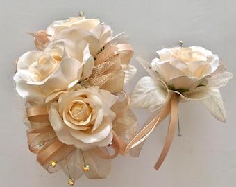 Apricot Blush Prom Corsage & Boutonnière Set