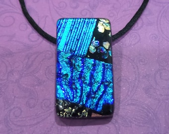 One of a Kind Blue Dichroic Necklace, Fused Glass Pendant, Blue, Green, Black, Brown Dichroic Glass  - Julienne -4697-6