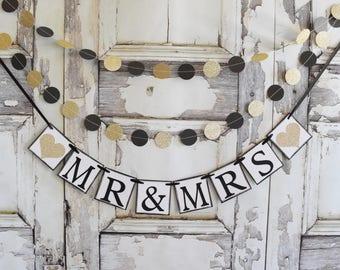 Black Gold glitter circle dot banner, Wedding Garland, Birthday Decor, Wedding Decor, 10 feet garland, Birthday decor,bridal shower decor