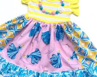 Disney Cinderella Princess dress Mickey Mouse Pink Momi girls boutique clothing custom