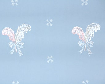 1930s Vintage Wallpaper by the Yard - Pink and White Feathers and Ribbons on Blue