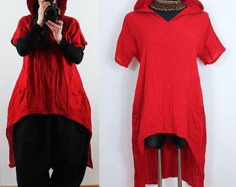 Long BAGGY Red Lagenlook Hooded Maxi Tunic Shirt Dress Plus Size 12 14 16 18 1X Hoodie Asymmetric Hem Layered Lagenlook DIY Style
