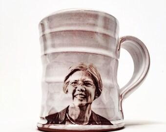 Handmade mug featuring senator Elizabeth warren