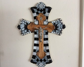 Stained Glass Vintage Mosaic Cross