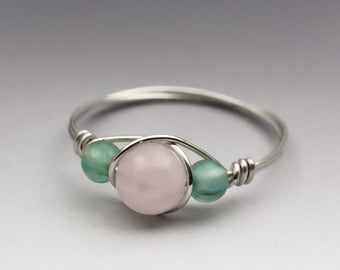 Rose Quartz & Neon Apatite Sterling Silver Wire Wrapped Bead Ring - Made to Order, Ships Fast!