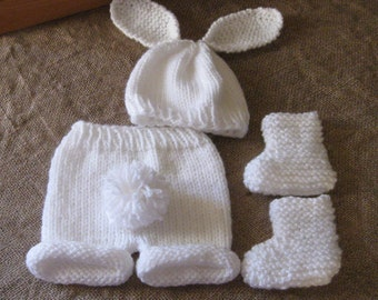 Knit Snowbunny Hat, Booties and Short Pants w/Removable Tail/Photo Prop/0-3 Months/Easter/White/Ready to Ship