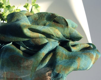 NEW Unique Large Merino Wool Scarf Turquoise Naturally Dyed Eco Print