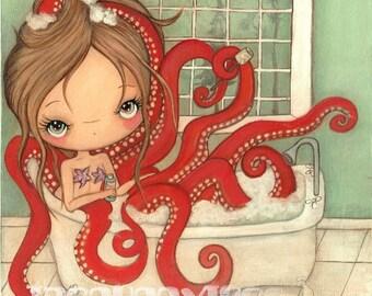 Octopus Print Nautical Bathroom Art Cute  ---Octopus in the Tub
