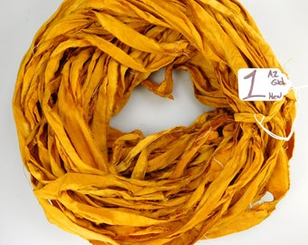 Silk Sari Ribbon, recycled sari ribbon, Sari Silk Ribbon, rug making supply, Aztec gold ribbon, weaving supply, knitting supply