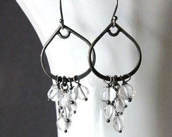 Clear Quartz Earrings Sterling Silver Gemstone Jewelry Oxidized Silver Gem Stone  April  Birthstone  Rock Crystal Earrings