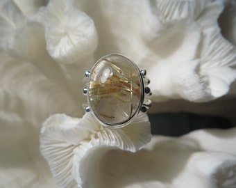 Golden Rutile Agate Ring Size 7.75