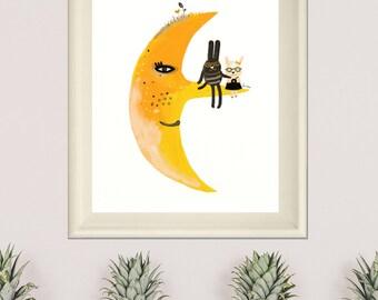 Moon Print, Moon Drawing, Yellow Print Illustration Art, Friends Print, Baby Room Wall Art, Kids Decor