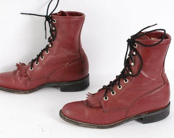 size 7.5 FRINGE burgundy leather 80s 90s JUSTIN roper COMBAT lace up ankle boots unisex