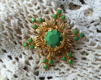 Vintage costume Jewelry Brooches Brooch Vintage pin Green Starburst made in Austria