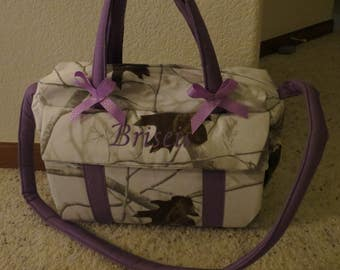 White Realtree Camo Diaper Bag with changing pad  by EMIJANE