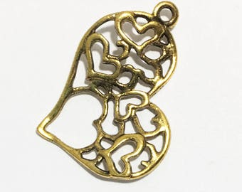 6 pcs of antique  gold double sided filigree heart charm 37x32mm