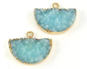 Aqua Faux Druzy Earring Findings Aqua Faux Druzy Half Circle Pendant Drusy Earring Charm Gold Trimmed Jewelry Finding |B9-6|2