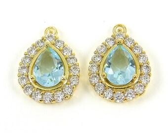 Light Blue Teardrop Earring Findings, Blue Zircon Aqua Teardrop Bridesmaid Pendant, Blue Gold Earring Dangle, December Birthstone  B8-4 2