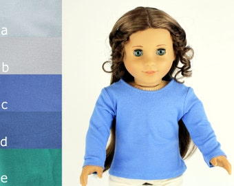 LIMITED EDITION - Fits like American Girl Doll Clothes - The Basic Tee, You Choose Color and Sleeve Length, Made To Order
