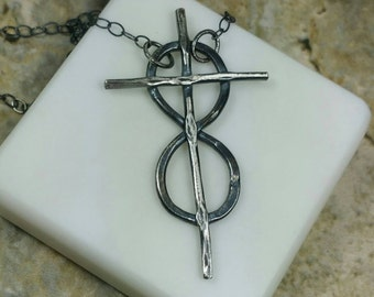 Infinity Cross Necklace, Faith Jewelry, Eternal Cross Necklace, Cross Infinity Necklace, Rustic Silver Cross, 20 inch Maggie McMane Designs