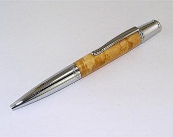 Handmade  MONET Style Twist Ballpoint or Rollerball Wood Pen Maple Chrome PARKER