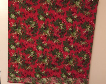Vintage Christmas Tablecloth Red with Green Holly and Mistletoe  51 x 102