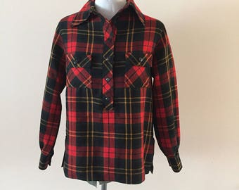 Red Plaid wool shirt Vintage 1970s Anne Klein