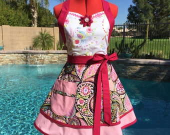 Ready to Ship - Paisley Sassy Apron with Petticoat,  Womens Aprons, Misses  Kitchen Apron, Pin Up Apron, Southern Belle, Haute Girls