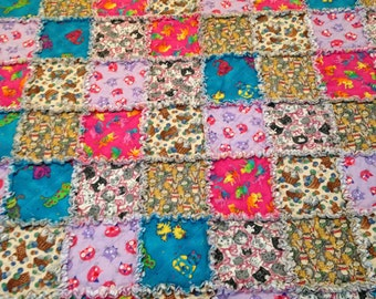 """Cat Rag Quilt Cat Lover Whimsical Bright Cheery  Blanket 56"""" X 62""""  Cotton Flannel  Baby Toddler Boy Gift Birthday Baby Shower"""
