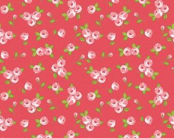 Kewpie Love- KEWPIE FLORAL RED- Valentine Fabric- Quilt- Riley Blake- Penny Lane-Heart- Pink- Baby- Fabric- Sold by Full or Half Yard.