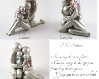 Custom Family of 4 with TWIN babies or twinless twins memorial sculpture - Choose from 3 poses and customize wing colors