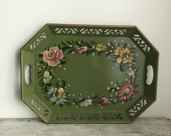 vintage green floral hand painted tole tray