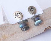 Four Corners Earrings - Labradorite Stone and Silver Earrings