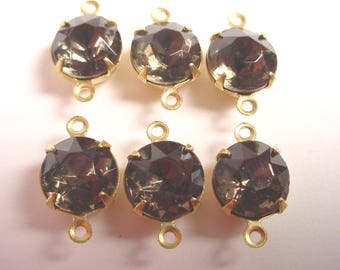 Vintage Black Diamond Round Rhinestone 9mm in Brass Prong Settings 2 Rings Closed Backs - 6 Pieces
