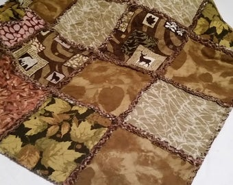 Lodge Cabin Rag Quilt Man Cave Quilt Rustic Camouflage Bear Deer Wolves Hunter
