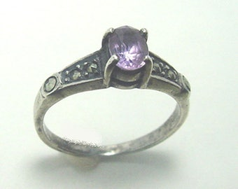 Sterling Ring - Marcasite - Amethyst Ring - Size 5 plus - Nice One