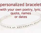 CUSTOM Cuff PERSONALIZED Sterling Silver Bracelet - PERSONALIZED Bracelet - Men & Women - Bespoke Jewelry - Free Shipping - Custom Text